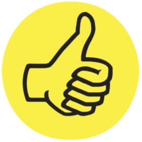 """FRANKEN Moderationskarte Wertungssymbol /""""Daumen/"""" gelb Bewertung für Präsentation"""